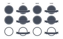 Blank Round Stamp Logo (Sharp and Rounded edges) -  Illustration Royalty Free Stock Photography