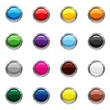 Blank round web buttons icons set, cartoon style royalty free illustration