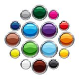 Blank round web buttons icons set, cartoon style stock illustration