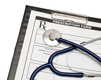 Blank Rx with stethoscope Royalty Free Stock Images