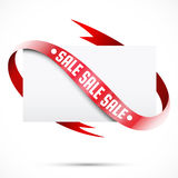 Blank Sale Tag. Paper and red ribbon Stock Images