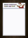 A4 blank. Santa Claus, Merry Christmas and Happy. New Year labels for Santa Claus Letter, Xmas, Banner, Sign, Poster, Holiday Invitation, Greeting Cards. White Stock Image