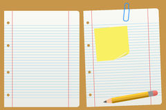 Blank School Lined Paper. Two blank school lined paper (blank and with pencil, post it and paper clip). Eps file available Stock Photo
