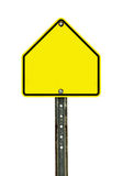 Blank School Zone Traffic Sign. Photograph of a blank yellow green school zone traffic sign with black border. All text letters have been removed. Isolated on a royalty free stock photo