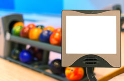 Blank score monitor in bowling club. Royalty Free Stock Photos