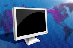 Blank screen. An illustration of blank screen with world map on the background Stock Image