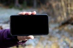 Blank screen cell phone. Horizontal. View. Empty screen for description stock photos