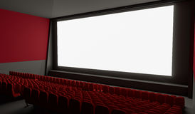 Blank screen in empty cinema hall. 3D rendered illustration Stock Images