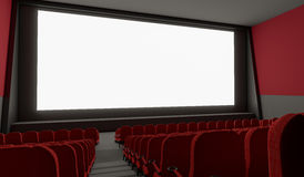 Blank screen in empty cinema hall. 3D rendered illustration.  Royalty Free Stock Photography
