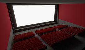Blank screen in empty cinema hall. 3D rendered illustration Stock Photography