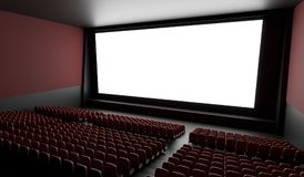 Blank screen in empty cinema hall. 3D rendered illustration.  Stock Image