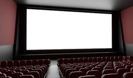 Blank screen in empty cinema hall. 3D rendered illustration.  Stock Images