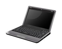 Blank screen laptop. A clean laptop with a black screen vector illustration