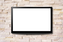 Blank screen LCD tv hanging on a wall Stock Photos