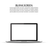 Blank screen. Realistic laptop on a white background. Blank  screen. Realistic laptop on a white background Stock Photo