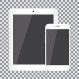 Blank screen. Set of realistic tablet and smartphone on a transparent background Stock Image