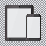 Blank screen. Set of realistic tablet and smartphone on a transparent background Stock Photos