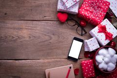 Blank screen smart phone, cell phone, with Valentines day Decoration, Valentine`s Day celebration background. Top view stock photos