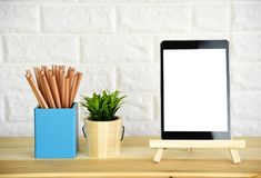 Blank screen tablet,Pencil and pen stock image