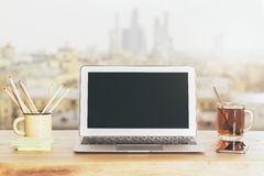 Blank screen and tea Stock Photography