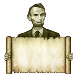 Blank Scroll Held by Abraham Lincoln. Illustration of a blank scroll being held by Abraham Lincoln from the five dollar bill royalty free illustration