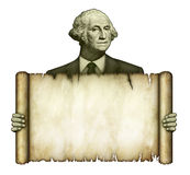 Blank Scroll Held by George Washington Royalty Free Stock Photos