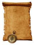 Blank scroll med kompasset Arkivbild