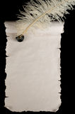 Blank scroll paper. Blank old scroll paper with feather pen and ink Stock Photos