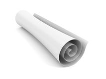 Blank scroll of paper on a white background Stock Photo