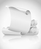 Blank scrolls of white paper Stock Photography