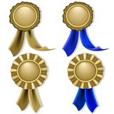 Blank seals and medals in gold Royalty Free Stock Photos