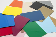 Blank security or ID badges. A multi-colored pile of blank security or ID badges Stock Photos