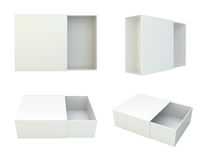 Blank set open box isolated on white background. 3d rendering Stock Photography