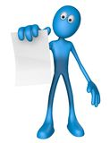 Blank sheet. Blue guy is holding blank paper sheet - 3d illustration Royalty Free Stock Photos