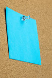 Blank sheet of blue paper on a bulletin board Royalty Free Stock Image
