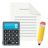 Blank Sheet, Calculator and Pencil Flat Icon Royalty Free Stock Image