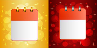 Blank sheet of calendar on festive  backgrounds. Blank sheets of calendar on festive colorful background. The template can be used for design  any holidays Royalty Free Stock Photos
