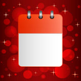 Blank sheet of calendar on festive colorful background. Stock Photos