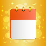 Blank sheet of calendar on festive colorful background Stock Photos