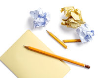 Blank sheet, crumpled paper and a broken pencil Royalty Free Stock Photo