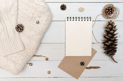 Blank sheet of design paper for writing. Christmas decor view from above. Flatlay Stock Photos