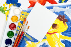 Blank sheet with illustration collage Stock Photography