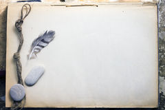 Blank sheet in an old notebook Stock Image