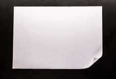Blank sheet of paper. On black background Stock Images