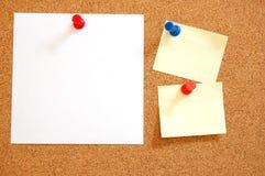 Blank sheet paper on bulletin board Royalty Free Stock Photos