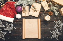 Blank sheet of paper with Christmas items Stock Photos