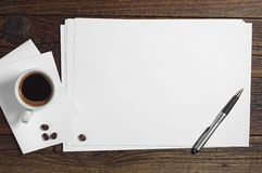 Blank sheet of paper and coffee Royalty Free Stock Photo