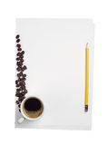 Blank sheet of paper and coffee Royalty Free Stock Photos