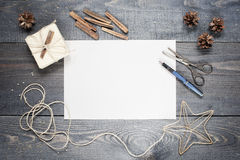 Blank sheet of paper with composition on the table Royalty Free Stock Photography