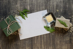 Blank sheet of paper and decoration Stock Photos